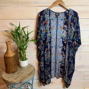 Blue Tropical Floral Print Kimono
